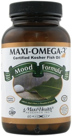 DROPPED: Maxi-Health Research Kosher Vitamins - Maxi-Omega-3 Mood Formula Certified Organic Fish Oil CLEARANCE PRICED - 60 Capsules