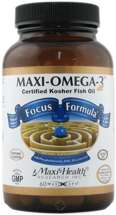 DROPPED: Maxi-Health Research Kosher Vitamins - Maxi-Omega-3 Focus Formula Certified Kosher Fish Oil - 60 Capsules CLEARANCE PRICED