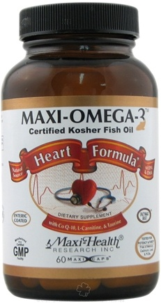 DROPPED: Maxi-Health Research Kosher Vitamins - Maxi-Omega-3 Heart Formula Certified Kosher Fish Oil - 60 Capsules