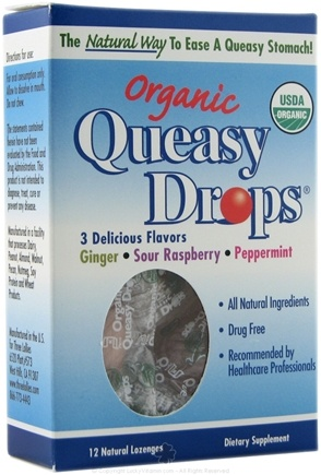 DROPPED: Three Lollies - Queasy Drops Organic - 12 Lozenges CLEARANCE PRICED