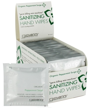 DROPPED: Giovanni - Sanitizing Hand Towelettes Organic Peppermint Surge - 24 Towelette(s) CLEARANCE PRICED