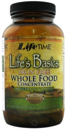 DROPPED: LifeTime Vitamins - Life's Basics Whole Food Concentrate Iron Free - 120 Capsules