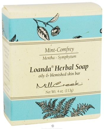 DROPPED: Mill Creek Botanicals - Loanda Herbal Soap Mint-Comfrey Oily and Blemished Skin Bar - 4 oz.