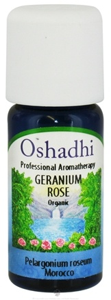 DROPPED: Oshadhi - Professional Aromatherapy Rose Geranium Organic Essential Oil - 10 ml. CLEARANCED PRICED