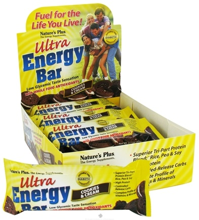 DROPPED: Nature's Plus - Ultra Energy Bar Cookies & Cream - 2.1 oz. CLEARANCE PRICED