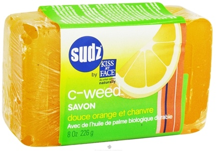DROPPED: Kiss My Face - Sudz Organic Bar Soap C-Weed With Sustainable Organic Palm Oil Sweet Orange & Lime - 8 oz.