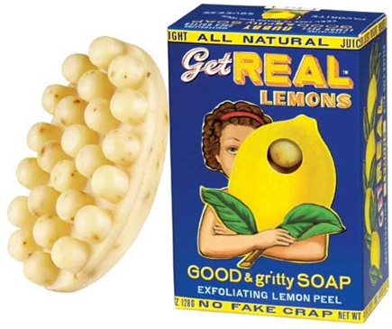DROPPED: Blue Q - Get Real Lemon Exfoliating Lemon Peel Good & Gritty Soap - 4.5 oz. CLEARANCE PRICED