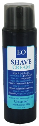 DROPPED: EO Products - Shave Cream Unscented with Coconut Milk - 5 oz. CLEARANCE PRICED