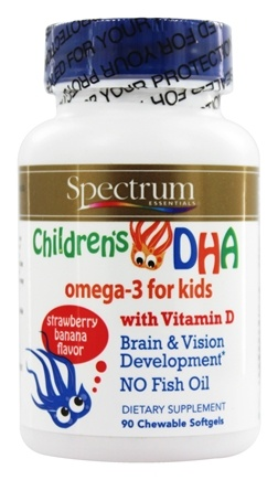 Spectrum Essentials - Children's DHA Omega-3 With Vitamin D Strawberry Banana Flavor - 90 Chewable Softgels