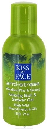 DROPPED: Kiss My Face - Bath & Shower Gel Relaxing Anti Stress Woodland Pine & Ginseng - 1 oz. CLEARANCE PRICED