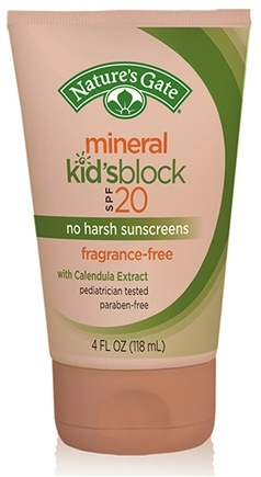 DROPPED: Nature's Gate - Mineral Suntan Lotion Kid's Block Fragrance Free 20 SPF - 4 oz. CLEARANCE PRICED