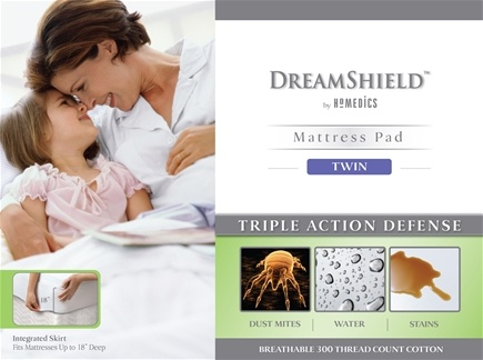 DROPPED: HoMedics - DreamShield Twin Size Mattress Pad DSH-PADT - CLEARANCE PRICED
