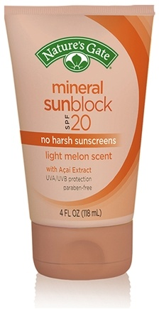 DROPPED: Nature's Gate - Mineral Sunblock Light Melon Scent 20 SPF - 4 oz. CLEARANCE PRICED