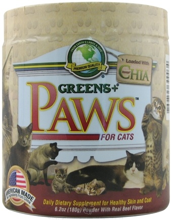 DROPPED: Greens Plus - PAWS for Cats with Omega 3 Chia for Healthy Skin and Coat - 6.2 oz.