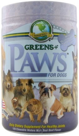 DROPPED: Greens Plus - PAWS for Dogs with Glucosamine for Healthy Joints - 120 Chewable Wafers