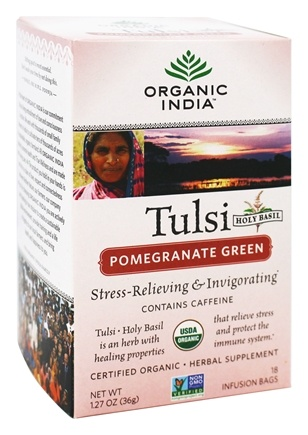 Organic India - Tulsi Tea with Elderberry Pomegranate Green - 18 Tea Bags