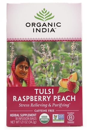 Organic India - Tulsi Tea Raspberry Peach - 18 Tea Bags