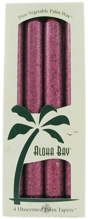 DROPPED: Aloha Bay - Palm Tapers Unscented Candles Burgundy - 4 Pack(s) CLEARANCE PRICED