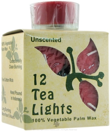 Aloha Bay - 100% Vegetable Palm Wax Tea Light Candles Unscented Red - 12 Pack