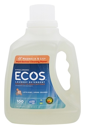 Earth Friendly - ECOS Hypoallergenic Laundry Detergent with Built-In Fabric Softeners Magnolia & Lily - 100 oz.
