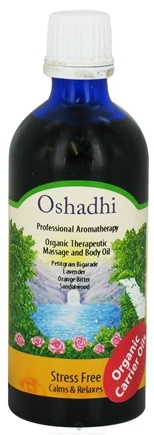 DROPPED: Oshadhi - Professional Aromatherapy Therapeutic Organic Massage And Body Oil Stress Free - 100 ml. CLEARANCE PRICED
