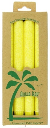 DROPPED: Aloha Bay - Palm Tapers Unscented Candles Yellow - 4 Pack CLEARANCE PRICED