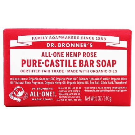Dr. Bronners - Magic Pure-Castile Bar Soap Organic Rose - 5 oz.