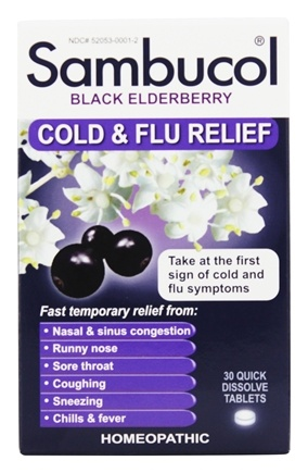 Sambucol - Black Elderberry Cold and Flu Relief - 30 Tablets