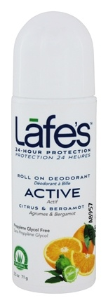Lafes - Deodorant Roll On All Natural Active - 3 oz.