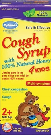 DROPPED: Hylands - Cough Syrup with 100% Natural Honey 4 Kids - 4 oz.