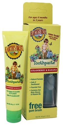 Earth's Best - Toddler Toothpaste by Jason Natural Products Strawberry & Banana - 1.6 oz.