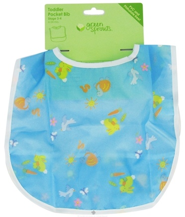 DROPPED: Green Sprouts - Toddler Bib Animals 12-24 Months PVC-Free Blue - CLEARANCE PRICED