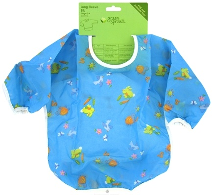 DROPPED: Green Sprouts - Long Sleeve Toddler Bib 6-24 Months Blue