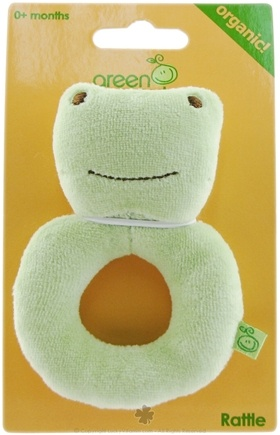 DROPPED: Green Sprouts - Organic Velour Ring Rattle Frog 0 Plus Months - CLEARANCE PRICED