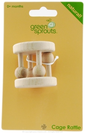 DROPPED: Green Sprouts - Natural Wood Cage Rattle 0 Months and Up - CLEARANCE PRICED