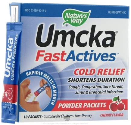DROPPED: Nature's Way - Umcka FastActives Cold+Flu Relief Cherry - 10 Packet(s)