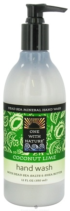 DROPPED: One With Nature - Dead Sea Mineral Hand Wash Coconut Lime - 12 oz. CLEARANCE PRICED
