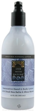DROPPED: One With Nature - Dead Sea Mineral Hand & Body Lotion Restorative Lavender - 12 oz. CLEARANCE PRICED
