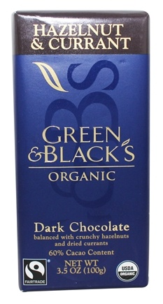 Green & Black's Organic - Hazelnut and Currant Dark Chocolate Bar 60% Cocoa - 3.5 oz.