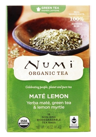 Numi Organic - Green Tea Mate Lemon - 18 Tea Bags Formerly Rainforest