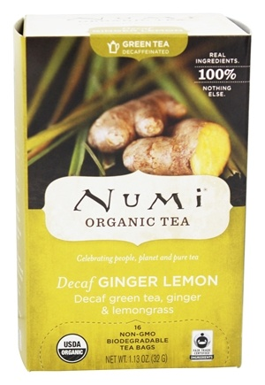 Numi Organic - Green Tea Decaffeinated Ginger Lemon - 16 Tea Bags