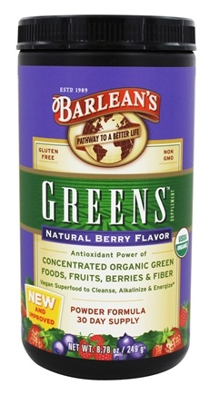 Barlean's - Greens Powder Formula Natural Berry Flavor - 8.78 oz.