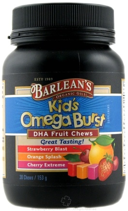 DROPPED: Barlean's - Kid's Omega Burst DHA Fruit Chews Assorted Flavors - 30 Chew(s)