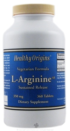DROPPED: Healthy Origins - L-Arginine Vegetarian Formula 350 mg. - 360 Tablets CLEARANCE PRICED