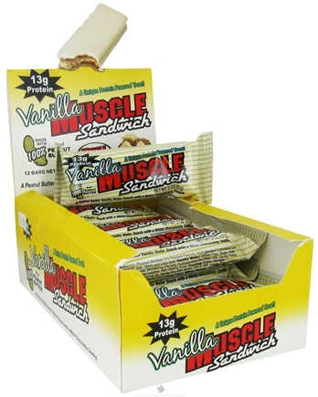 DROPPED: Muscle Foods - Muscle Sandwich Peanut Butter Vanilla Wafer Snack with White Chocolately Coating - 2 oz. CLEARANCED PRICED