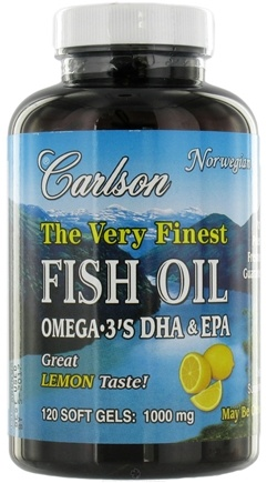 DROPPED: Carlson Labs - The Very Finest Norwegian Fish Oil Omega-3's DHA & EPA Lemon Flavor 1000 mg. - 120 Softgels CLEARANCE PRICED