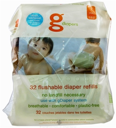 DROPPED: gDiapers - Flushable Diaper Refills Medium/Large 13-36 lb - 32 Pack(s) CLEARANCE PRICED