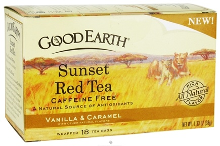DROPPED: Good Earth Teas - Sunset Red Tea Caffeine Free Vanilla & Caramel - 18 Tea Bags CLEARANCE PRICED