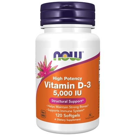 NOW Foods - Vitamin D-3 Highest Potency 5000 IU - 120 Softgels