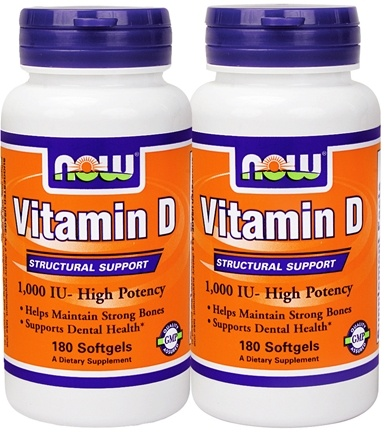 DROPPED: NOW Foods - Vitamin D-3 High Potency 180+180 Twin Pack 1000 IU - 360 Softgels